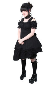 picture of underskirt  - American teen girl wearing authentic Japanese style Gousurori or Gothic Lolita Fashion - JPG