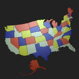 stock photo of usa map  - 3d usa map - JPG