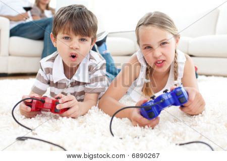 poster of Animated Children Playing Video Games