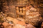 stock photo of treasury  - Photo taken from the cliff overlooking Petra treasury - JPG