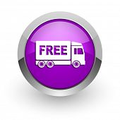 stock photo of free-trade  - free delivery pink glossy web icon - JPG