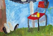 foto of lawn chair  - Beer and rest chair on summer lawn concept - JPG