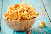 pic of chanterelle mushroom  - organic fresh chanterelle mushrooms in a bowl on a wooden background - JPG