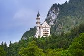 image of bavarian alps  - Neuschwanstein Castle in the Bavarian Alps - JPG