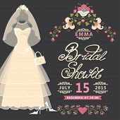 stock photo of composition  - Bridal shower invitation  card with Vintage wedding dress and flowers - JPG