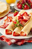 picture of crepes  - Fresh Strawberry French Crepes with Mint for Breakfast - JPG