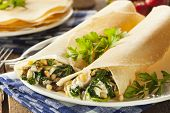 picture of french pastry  - Delicious Homemade Savory French Crepes with Spinach and Feta - JPG