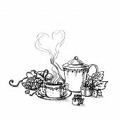 foto of tea bag  - Set of tea  cup and tea bags in vintage style stylized - JPG
