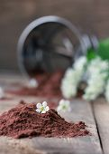 foto of flour sifter  - bird cherry flour on old wooden table with  bird cherry blossoms and flowers - JPG