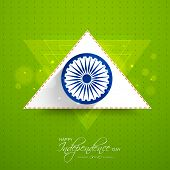 pic of asoka  - Asoka Wheel with white and saffron color triangle on shiny green background for Indian Independence Day celebrations - JPG