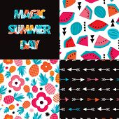picture of melon  - Seamless exotic summer pattern set and typography cover design pineapple and water melon illustration in vector - JPG