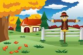 image of scarecrow  - A vector illustration of scarecrow in the Fall season - JPG