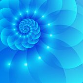 stock photo of fibonacci  - Blue spiral abstract vector shining seashell background - JPG
