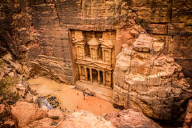 image of treasury  - Photo taken from the cliff overlooking Petra treasury - JPG