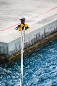 picture of bollard  - White Ship - JPG