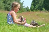 picture of little puppy  - A child on a walk with a little puppy - JPG