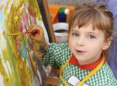 picture of school child  - artist school little girl painting brush watercolors portrait - JPG