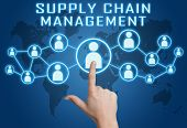 pic of supply chain  - Supply Chain Management concept with hand pressing social icons on blue world map background - JPG