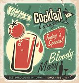 foto of bloody mary  - Promotional retro poster design for one of the most popular cocktails Bloody Mary - JPG