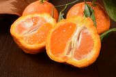 picture of navel  - Sliced Sumo oranges a wrinkly sweet orange that is a cross between a Mandarin and California navel orange - JPG