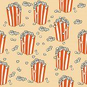 picture of popcorn  - popcorn seamless pattern cartoon illustration - JPG
