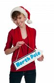 picture of north-pole  - Beautiful woman elf holding a north pole sign - JPG