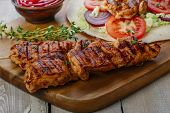 picture of shawarma  - grilled chicken shawarma with pita bread and vegetables - JPG