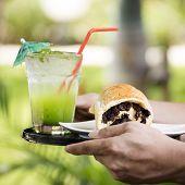 image of baking soda  - Bread with raisins and Kiwi juice soda on the tray - JPG