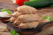 picture of kebab  - Kebab of minced chicken with dill and parsley - JPG