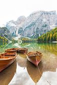 picture of south tyrol  - Closeup on boats on lake braies in south tyrol italy - JPG