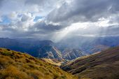 stock photo of southern  - View to Southern Alps from Ben Lomond track near Queenstown in New Zealand - JPG
