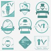 stock photo of barber  - Set of vintage barber hairstyle and gentlemen club logos - JPG