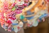 picture of tiara  - Detail of tiara with artificial flowers for bride - JPG