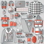 image of outfits  - Flat design concept vector illustration of every day carry and outfit accessories things tools devices essentials equipment objects items - JPG