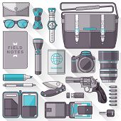picture of outfits  - Flat design concept vector illustration of every day carry and outfit accessories things tools devices essentials equipment objects items - JPG