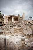 foto of minotaur  - Minotaur horns at Knossos Archeological Site in Crete Greece - JPG