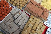 pic of barfi  - The indian sweets on the counter an market - JPG
