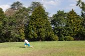 image of glider  - Young boy playing throwing  model aircraft glider into skies for flight at home - JPG