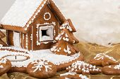picture of gingerbread house  - detail of Holiday Gingerbread house on white christmas cookie - JPG