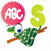 stock photo of jungle snake  - S is for vector cute cartoon isolated Snake - JPG