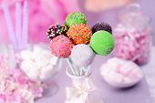 foto of cake pop  - Sweet cake pops in vase on table on bright background - JPG