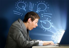 stock photo of not found  - Young man looking in laptop screen with shock - JPG