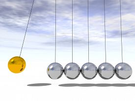 stock photo of pendulum  - Concept or conceptual 3D metal silver and gold creative spere Newton cradle pendulum over a sky background - JPG