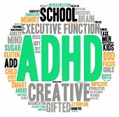 picture of prone  - ADHD circle shaped word cloud on a white background - JPG