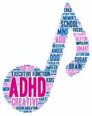 picture of prone  - ADHD musical note shaped word cloud on a white background - JPG