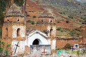 foto of chapels  - Old historic run down adobe chapel in a cemetery in Tarma Peru - JPG