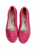 foto of pink shoes  - Knitted pink shoes isolated on white background - JPG