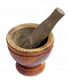 stock photo of pestle  - mortar and pestle set isolated on white background - JPG