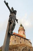 image of bohemia  - Jesus on the Cross by the Castle of Cesky Krumlov in South Bohemia Czech Republic - JPG
