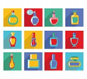 image of perfume bottles  - Vector of bottle icon collection in Flat design Cosmetics Perfume Bottles Simple shapes were used - JPG